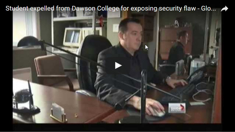 Student expelled from Dawson College for exposing security flaw – Global National Interview